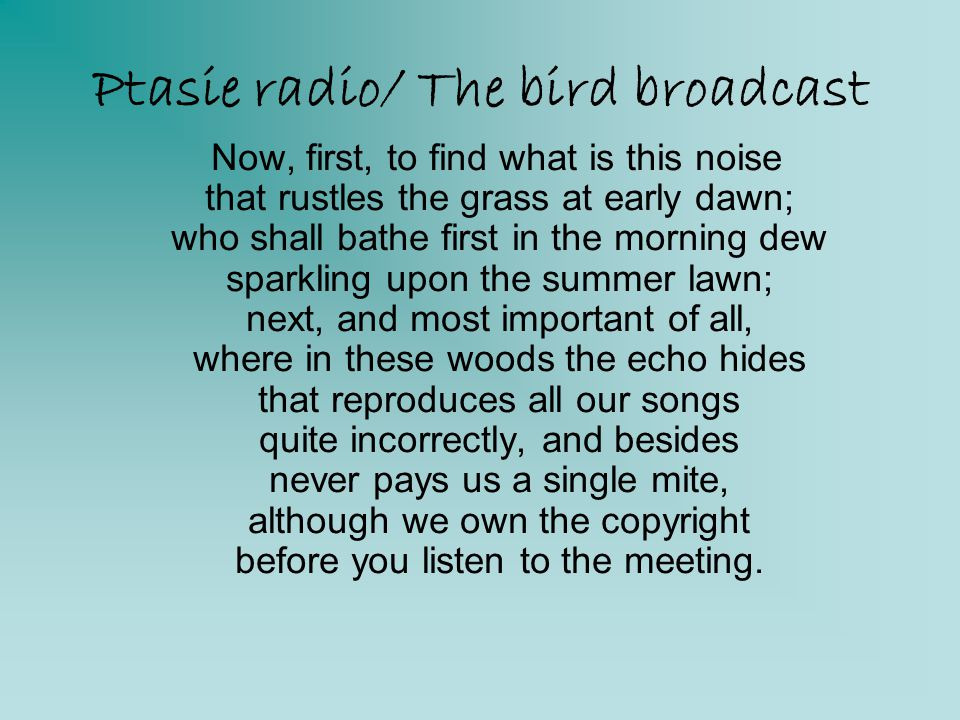 Ptasie radio/ The bird broadcast