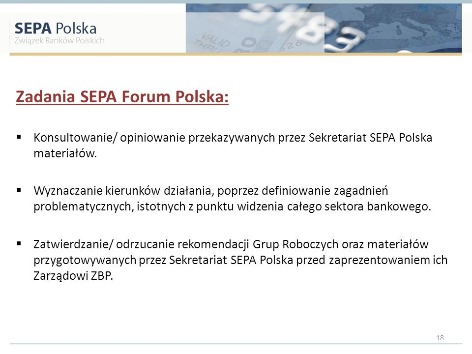 Zadania SEPA Forum Polska:
