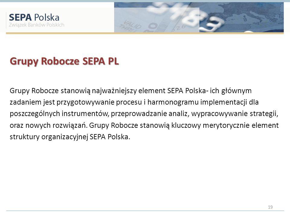 Grupy Robocze SEPA PL Grupy Robocze stanowią najważniejszy element SEPA Polska- ich głównym.