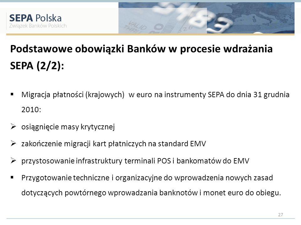 Podstawowe obowiązki Banków w procesie wdrażania SEPA (2/2):