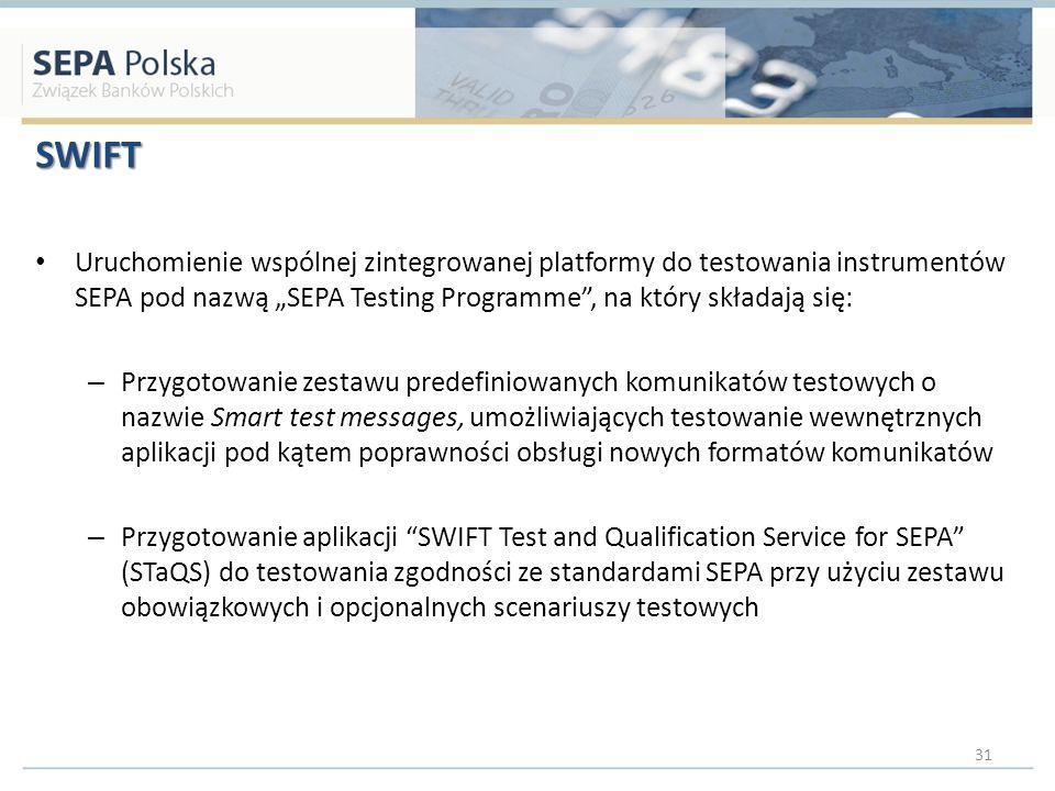 """SWIFT Uruchomienie wspólnej zintegrowanej platformy do testowania instrumentów SEPA pod nazwą """"SEPA Testing Programme , na który składają się:"""