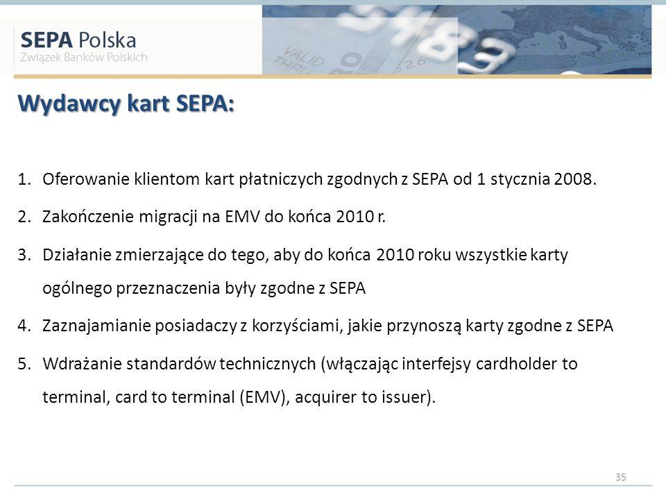 Wydawcy kart SEPA: Oferowanie klientom kart płatniczych zgodnych z SEPA od 1 stycznia 2008. Zakończenie migracji na EMV do końca 2010 r.