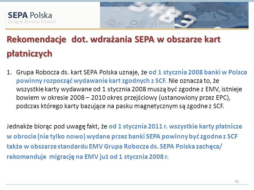 Rekomendacje dot. wdrażania SEPA w obszarze kart płatniczych