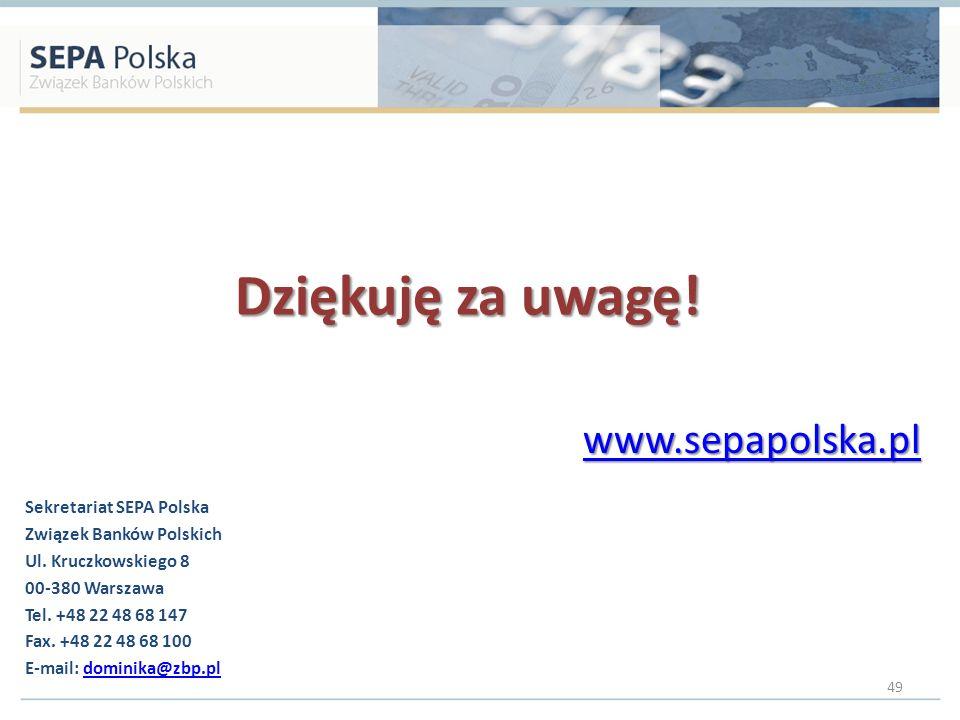 Dziękuję za uwagę! www.sepapolska.pl Sekretariat SEPA Polska