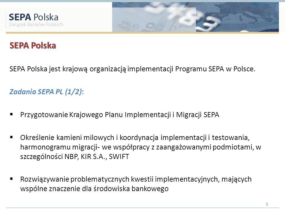 SEPA Polska SEPA Polska jest krajową organizacją implementacji Programu SEPA w Polsce. Zadania SEPA PL (1/2):