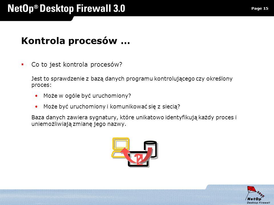 Kontrola procesów … Co to jest kontrola procesów Jest to sprawdzenie z bazą danych programu kontrolującego czy określony proces: