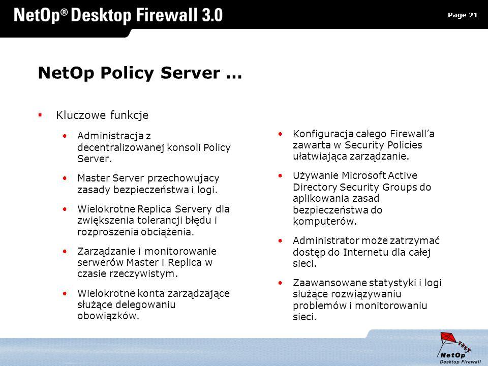 NetOp Policy Server … Kluczowe funkcje