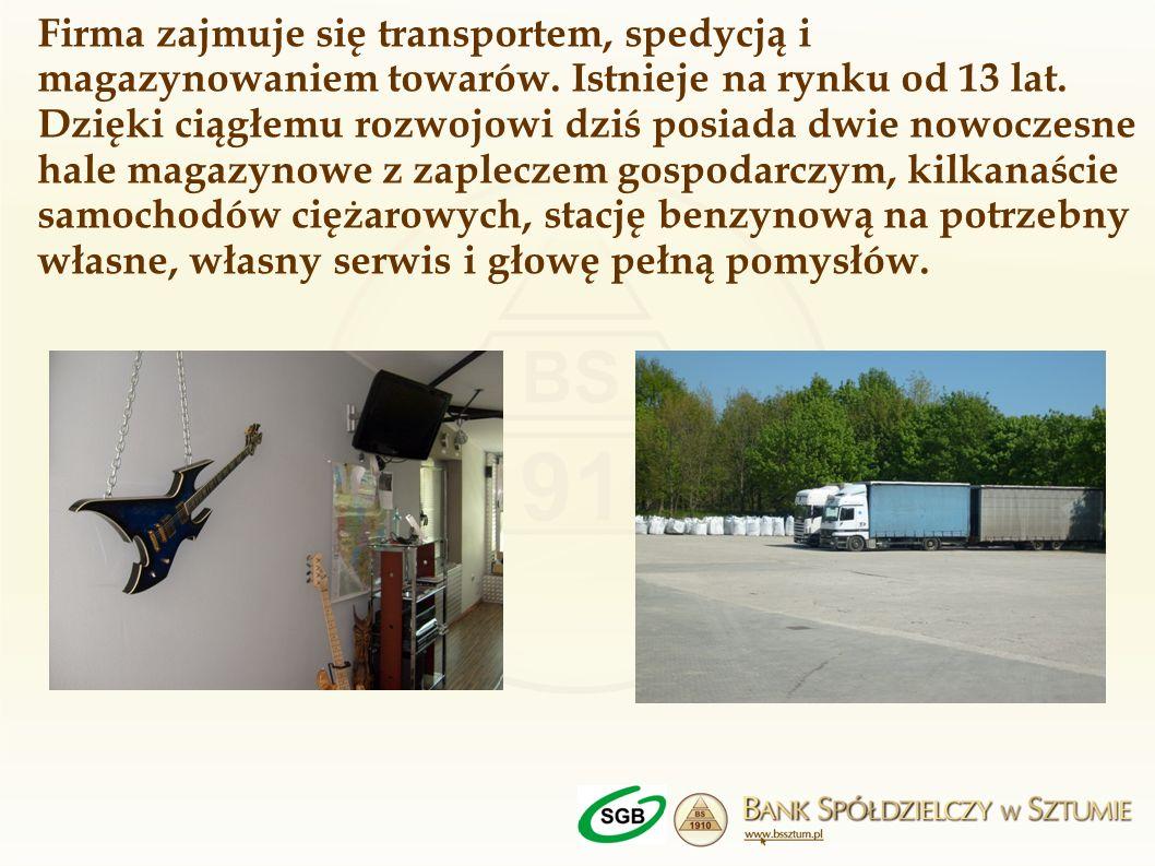 Firma zajmuje się transportem, spedycją i magazynowaniem towarów