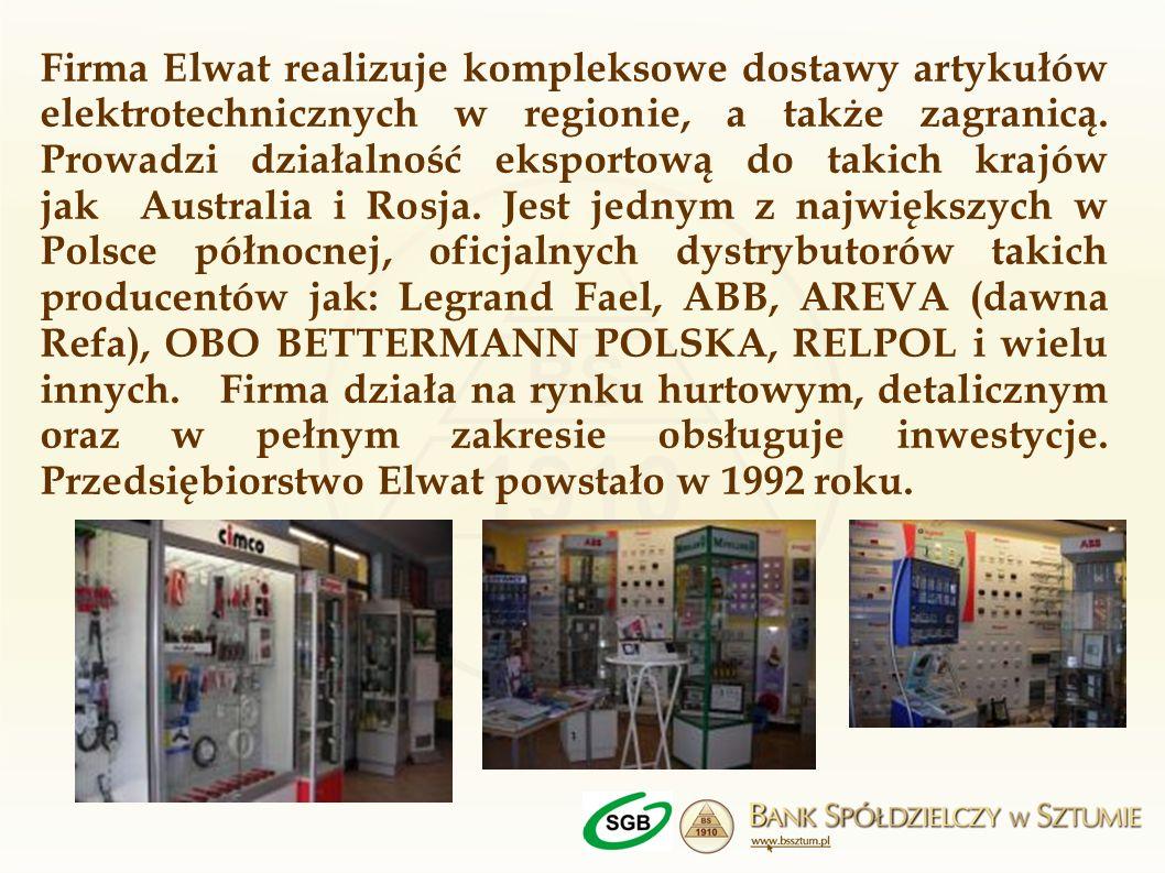 Firma Elwat realizuje kompleksowe dostawy artykułów elektrotechnicznych w regionie, a także zagranicą.