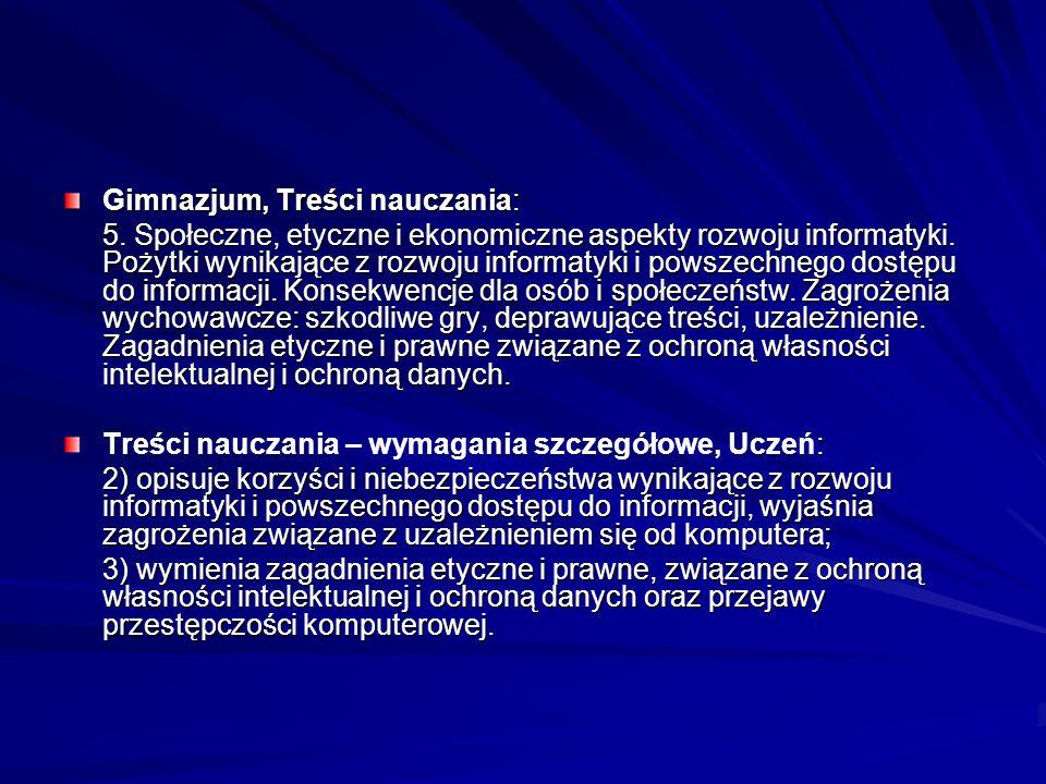 Gimnazjum, Treści nauczania:
