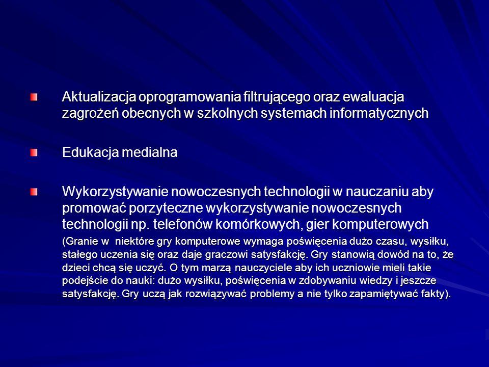 Aktualizacja oprogramowania filtrującego oraz ewaluacja zagrożeń obecnych w szkolnych systemach informatycznych