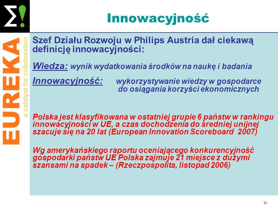 Innowacyjność Szef Działu Rozwoju w Philips Austria dał ciekawą definicję innowacyjności: Wiedza: wynik wydatkowania środków na naukę i badania.