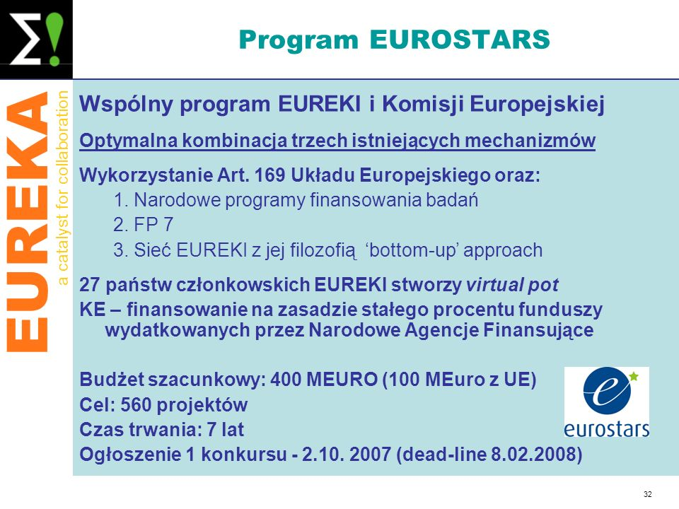 Program EUROSTARS Wspólny program EUREKI i Komisji Europejskiej