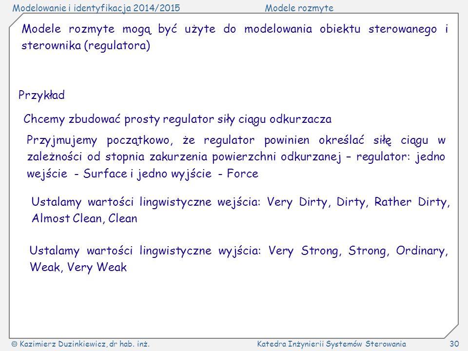 Modele rozmyte mogą być użyte do modelowania obiektu sterowanego i sterownika (regulatora)