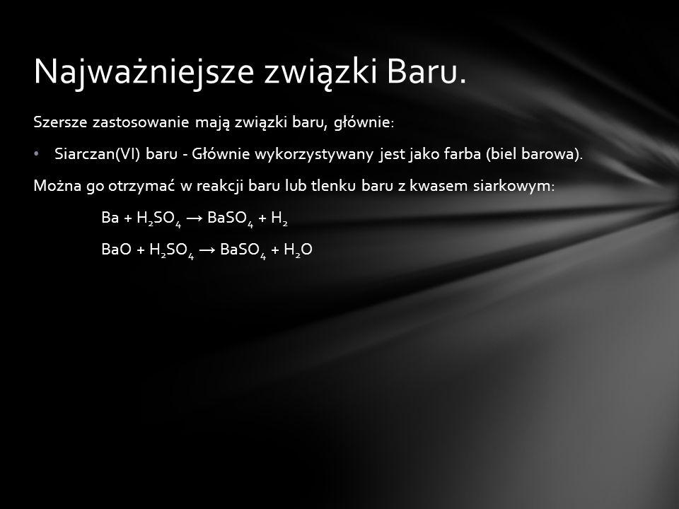 Najważniejsze związki Baru.