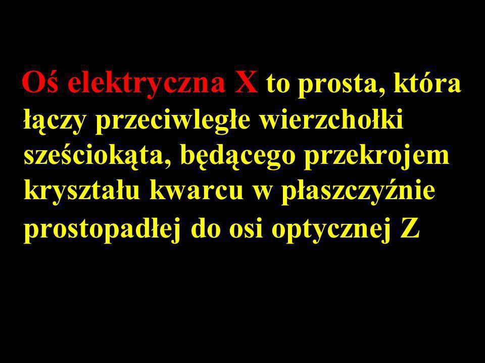 Oś elektryczna X to prosta, która łączy przeciwległe wierzchołki sześciokąta, będącego przekrojem kryształu kwarcu w płaszczyźnie prostopadłej do osi optycznej Z