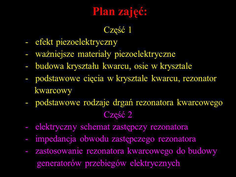 Plan zajęć: Część 1 - efekt piezoelektryczny