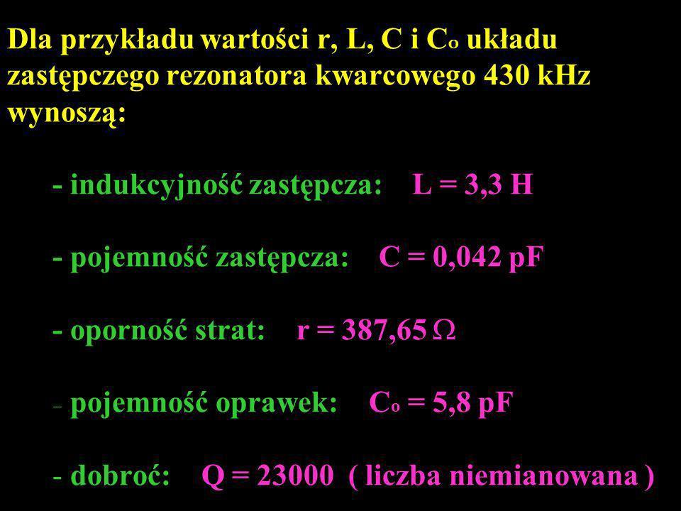 Dla przykładu wartości r, L, C i CO układu zastępczego rezonatora kwarcowego 430 kHz wynoszą: - indukcyjność zastępcza: L = 3,3 H - pojemność zastępcza: C = 0,042 pF - oporność strat: r = 387,65 W - pojemność oprawek: Co = 5,8 pF - dobroć: Q = 23000 ( liczba niemianowana )
