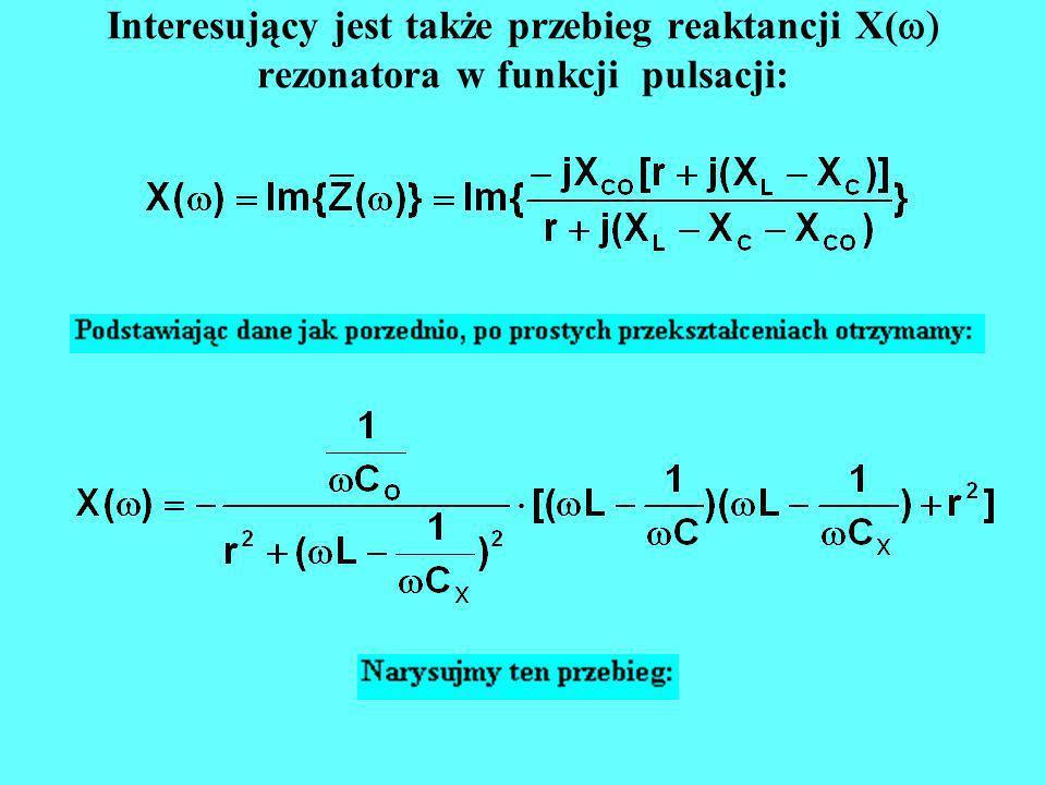 Interesujący jest także przebieg reaktancji X(w) rezonatora w funkcji pulsacji:
