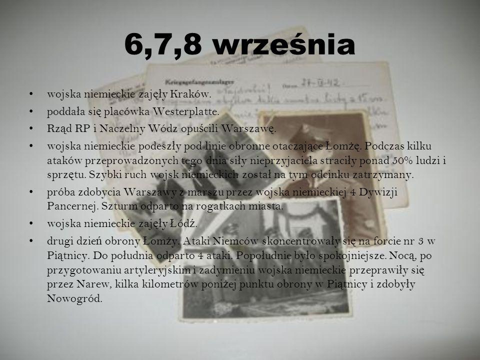 6,7,8 września wojska niemieckie zajęły Kraków.