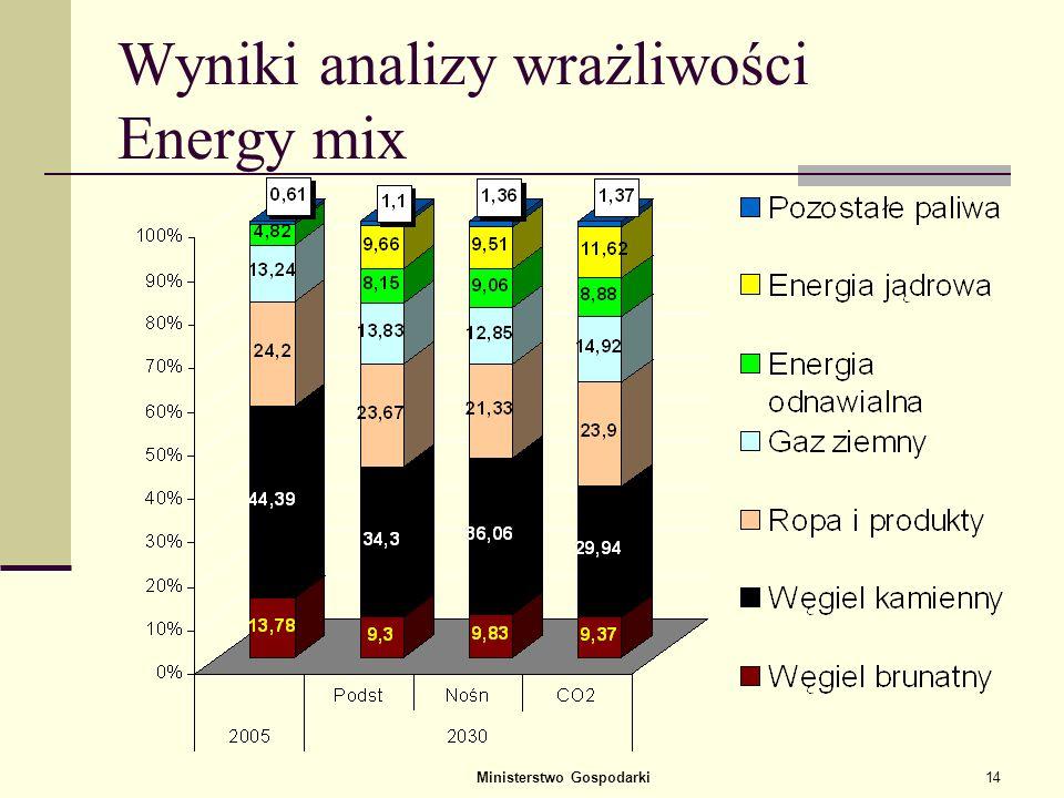 Wyniki analizy wrażliwości Energy mix