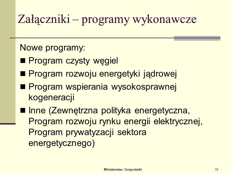 Załączniki – programy wykonawcze