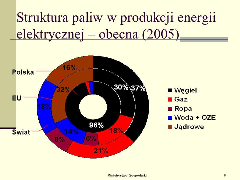 Struktura paliw w produkcji energii elektrycznej – obecna (2005)
