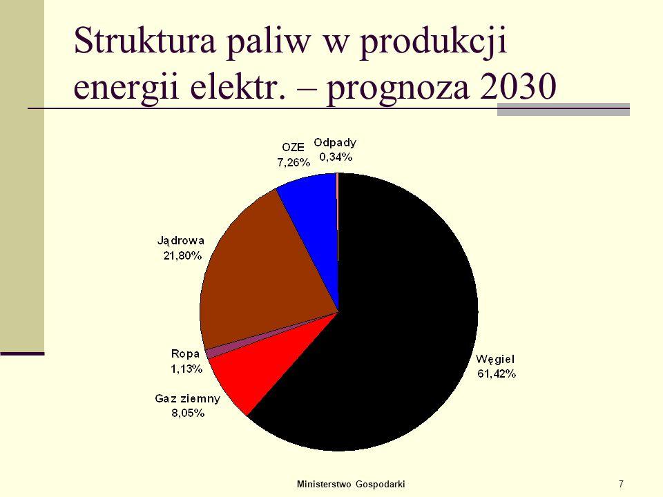 Struktura paliw w produkcji energii elektr. – prognoza 2030