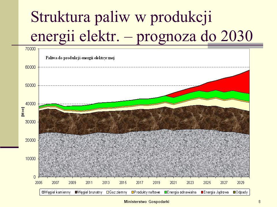 Struktura paliw w produkcji energii elektr. – prognoza do 2030