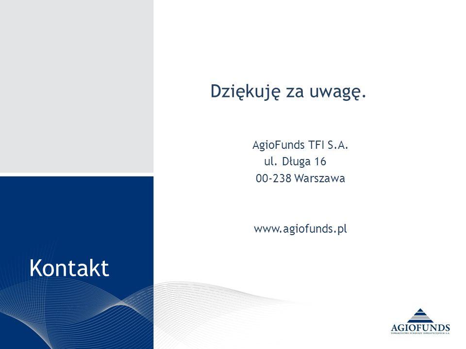 Kontakt Dziękuję za uwagę. AgioFunds TFI S.A. ul. Długa 16