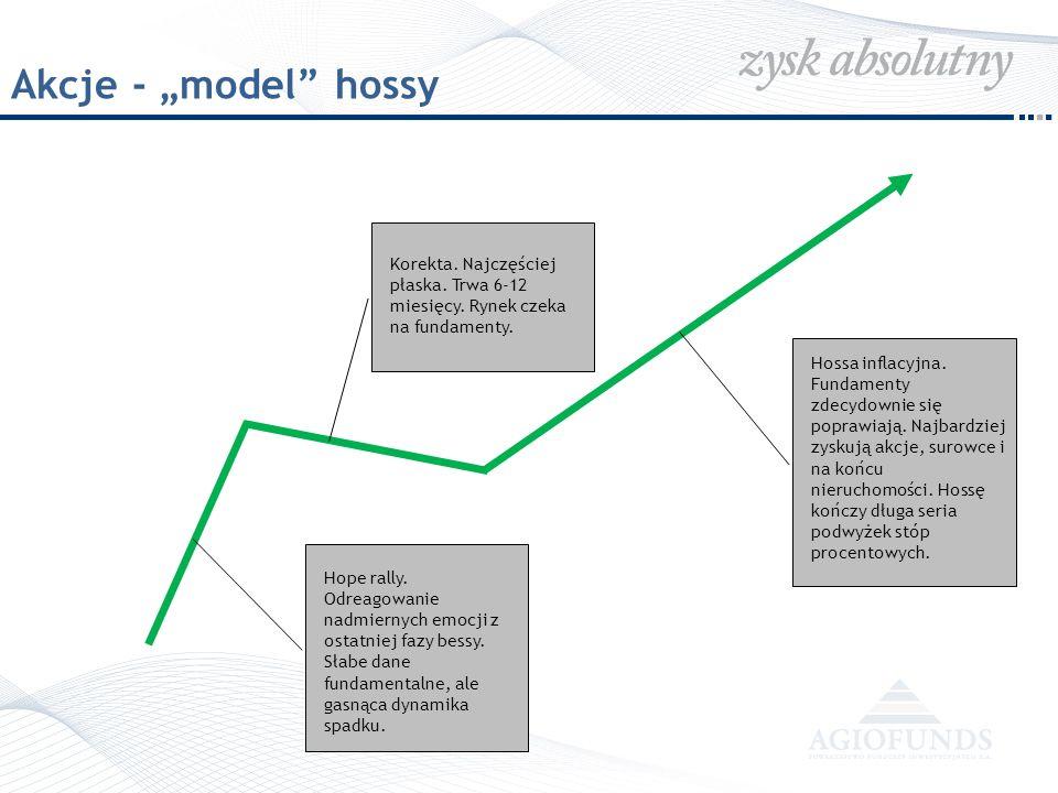 """Akcje - """"model hossy Korekta. Najczęściej płaska. Trwa 6-12 miesięcy. Rynek czeka na fundamenty."""