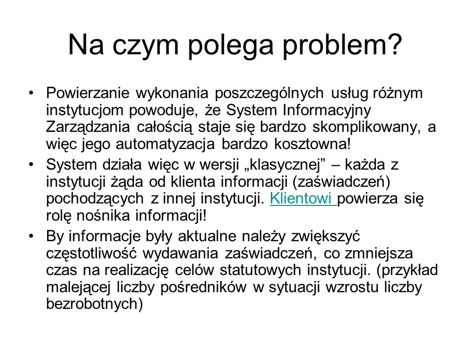 Na czym polega problem