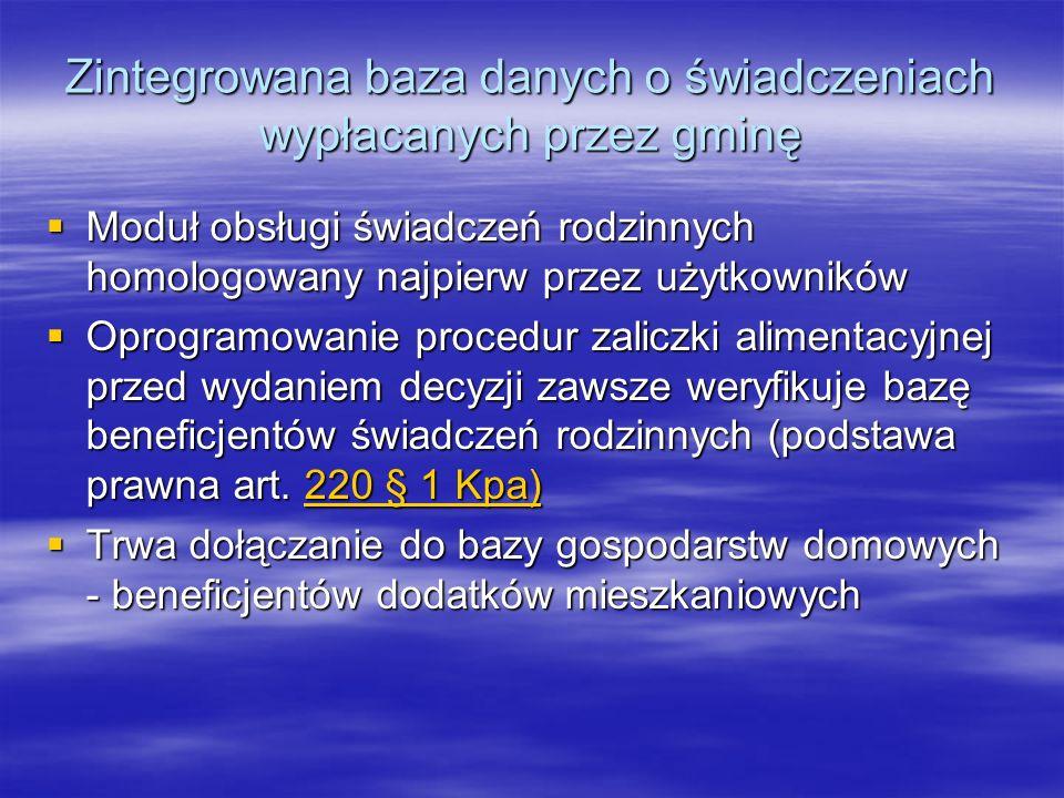 Zintegrowana baza danych o świadczeniach wypłacanych przez gminę