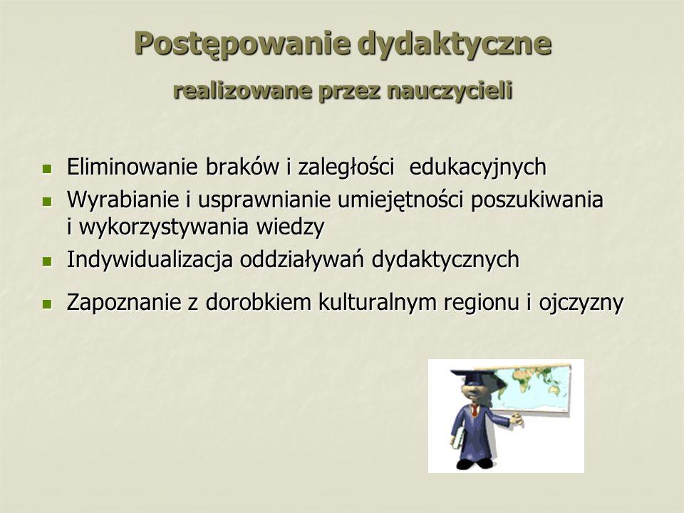 Postępowanie dydaktyczne realizowane przez nauczycieli