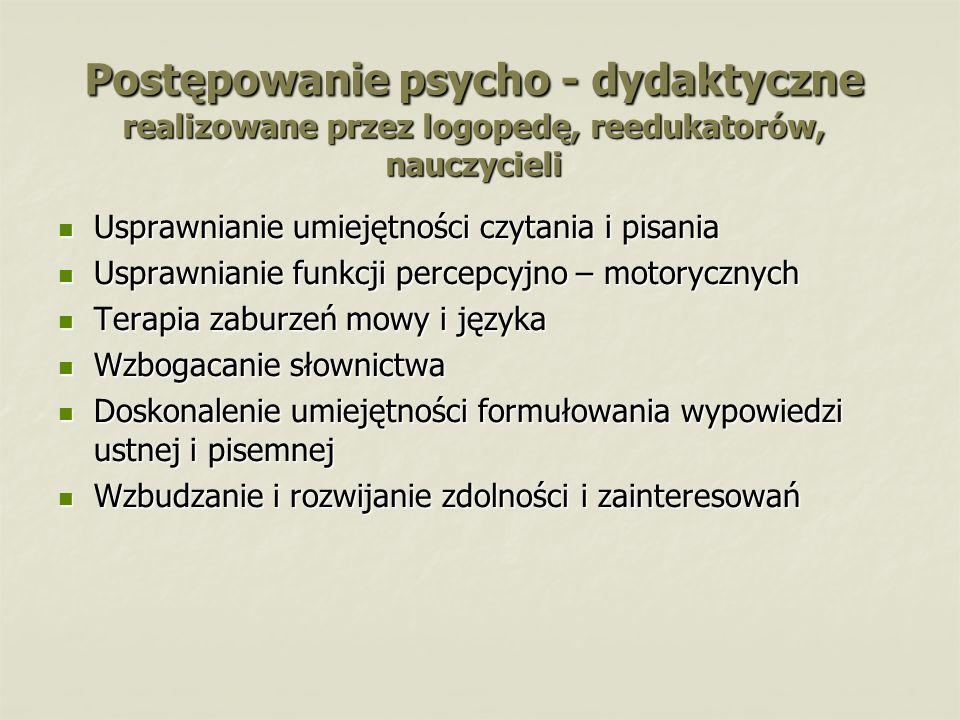 Postępowanie psycho - dydaktyczne realizowane przez logopedę, reedukatorów, nauczycieli