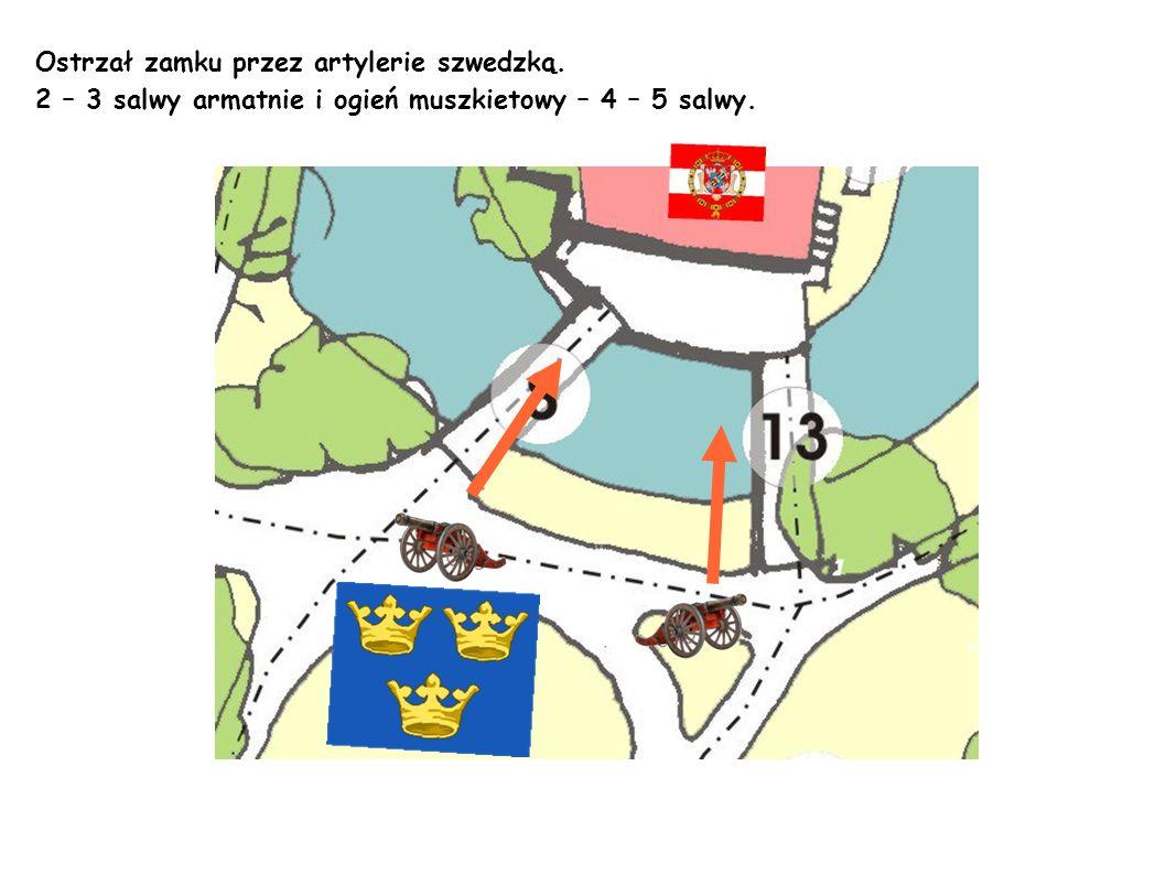 Ostrzał zamku przez artylerie szwedzką.