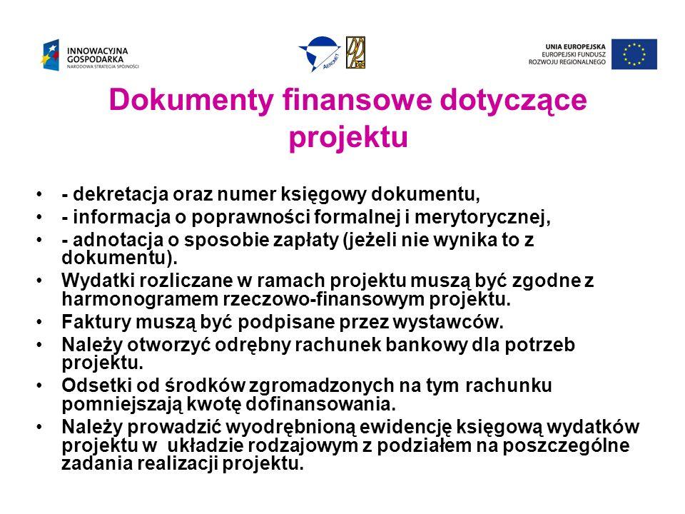 Dokumenty finansowe dotyczące projektu