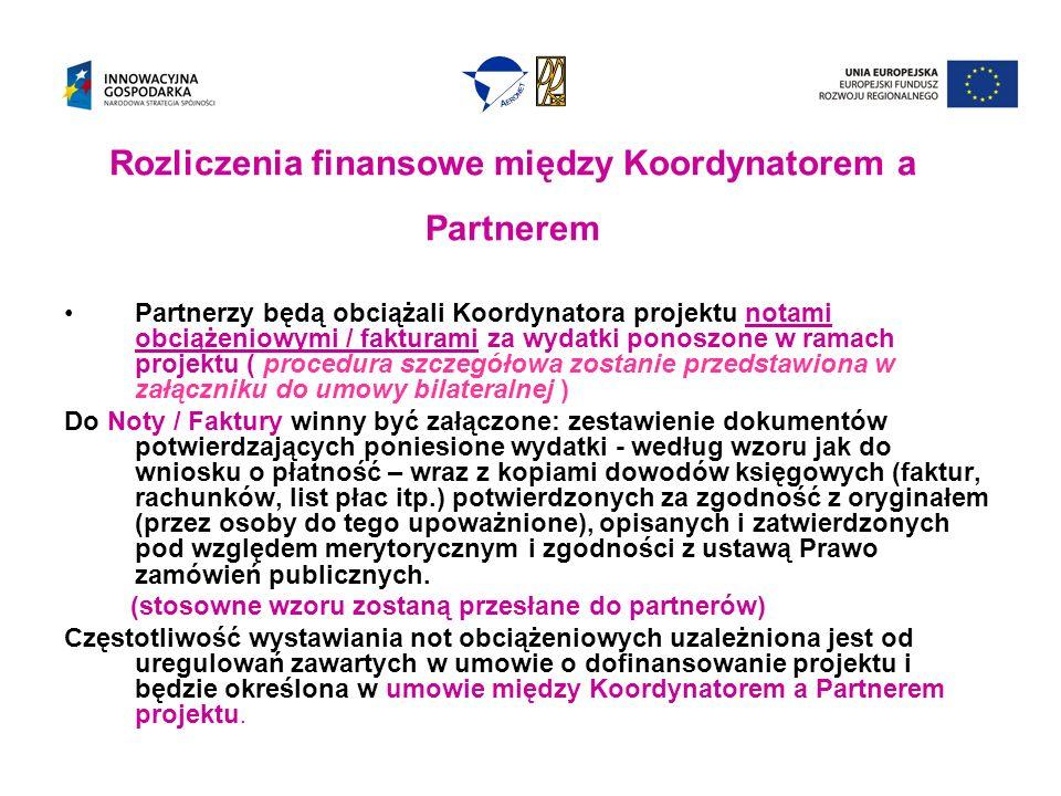 Rozliczenia finansowe między Koordynatorem a Partnerem