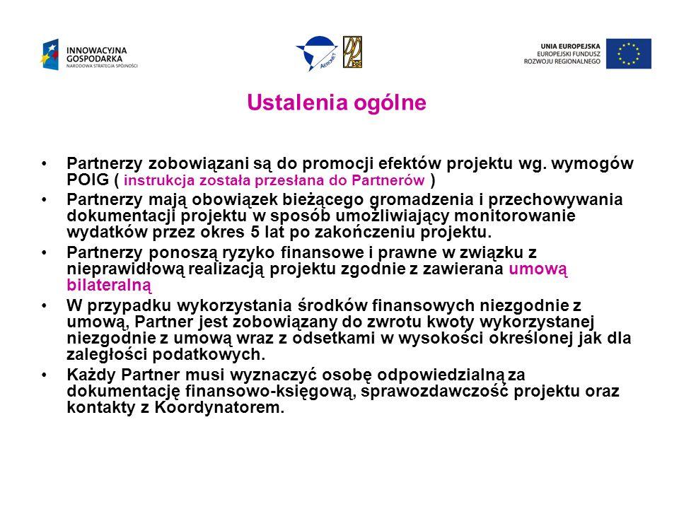 Ustalenia ogólne Partnerzy zobowiązani są do promocji efektów projektu wg. wymogów POIG ( instrukcja została przesłana do Partnerów )