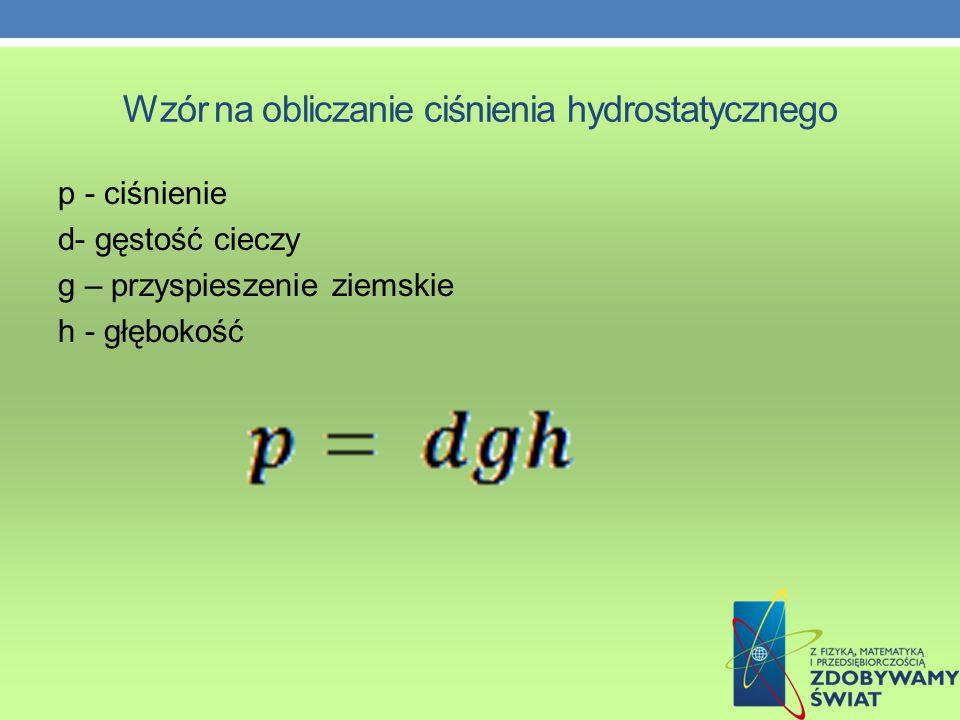Wzór na obliczanie ciśnienia hydrostatycznego