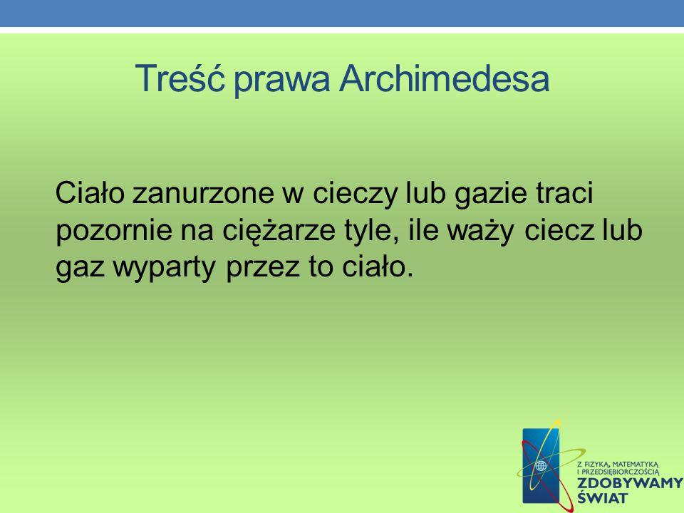 Treść prawa Archimedesa
