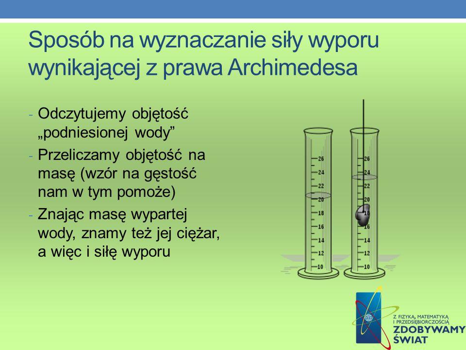 Sposób na wyznaczanie siły wyporu wynikającej z prawa Archimedesa