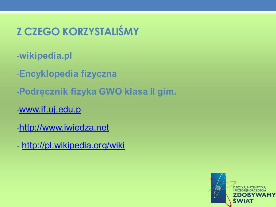 Z Czego korzystaliśmy wikipedia.pl Encyklopedia fizyczna