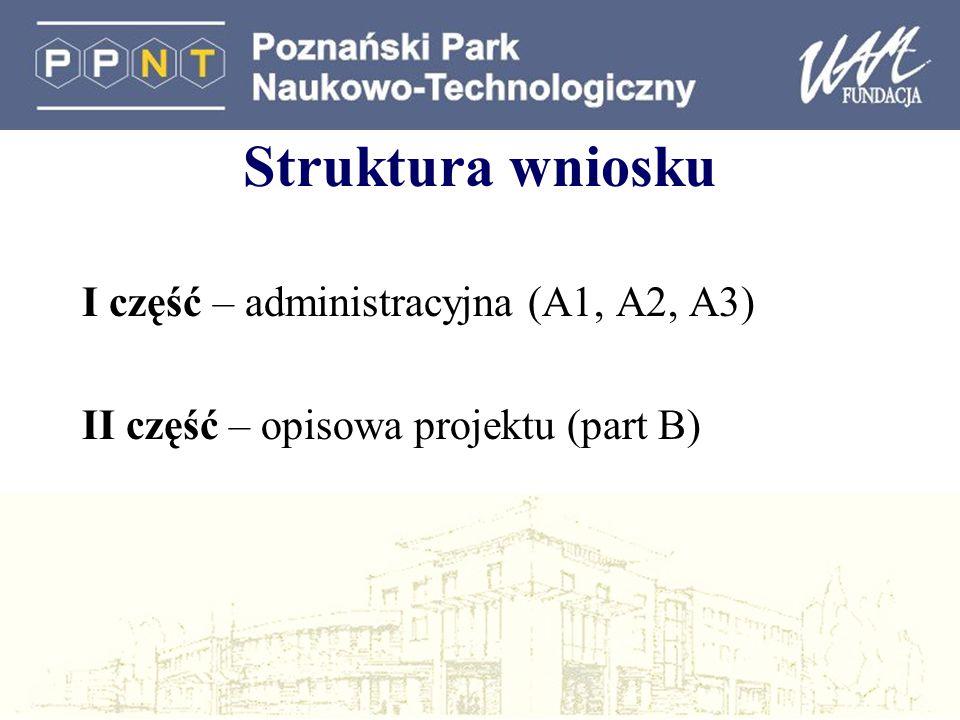 Struktura wniosku I część – administracyjna (A1, A2, A3)