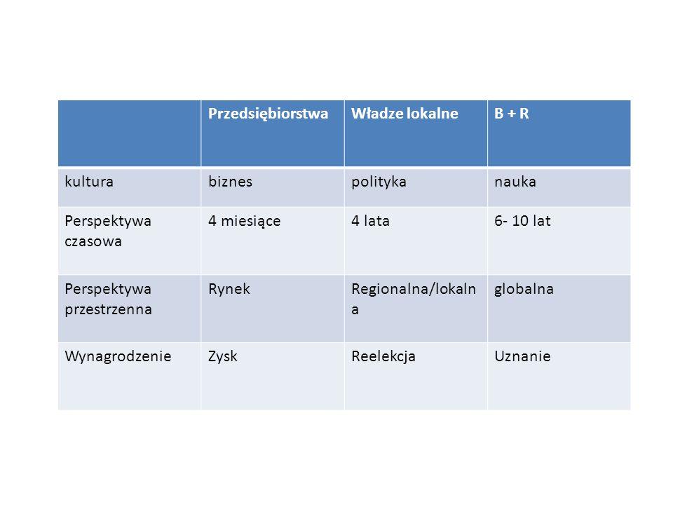 Przedsiębiorstwa Władze lokalne. B + R. kultura. biznes. polityka. nauka. Perspektywa czasowa.