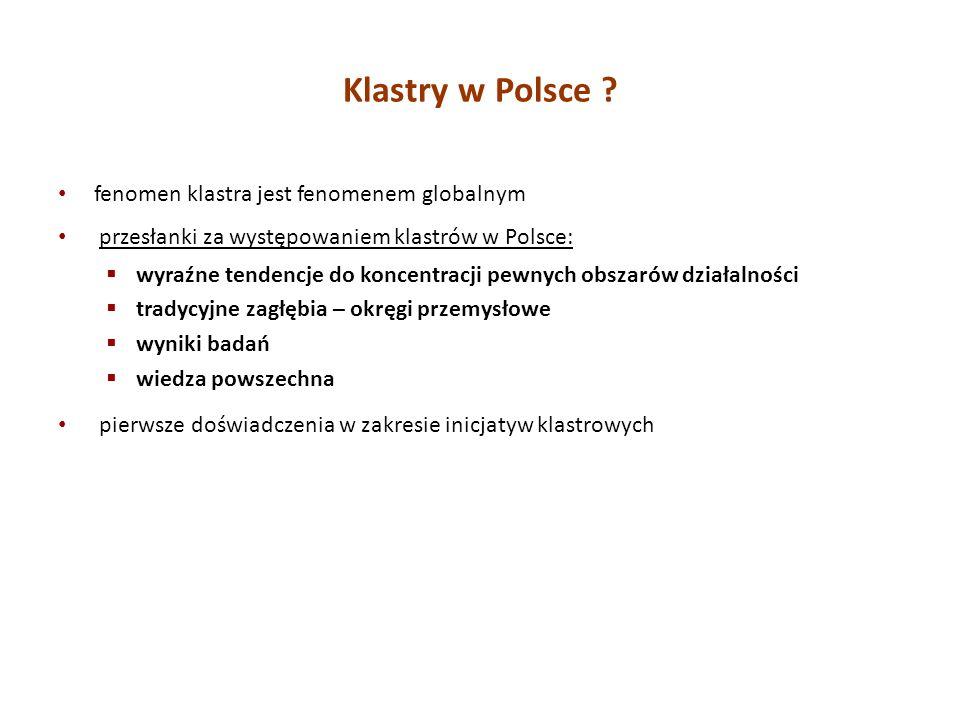 Klastry w Polsce fenomen klastra jest fenomenem globalnym