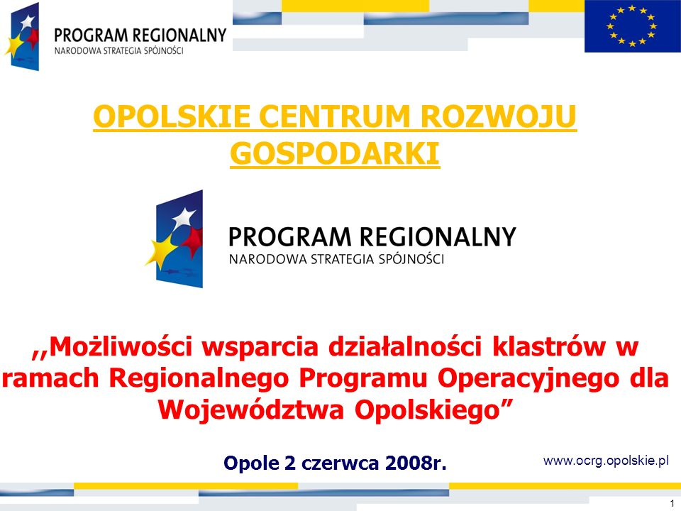 OPOLSKIE CENTRUM ROZWOJU GOSPODARKI ,,Możliwości wsparcia działalności klastrów w ramach Regionalnego Programu Operacyjnego dla Województwa Opolskiego
