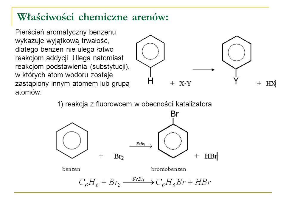 Właściwości chemiczne arenów: