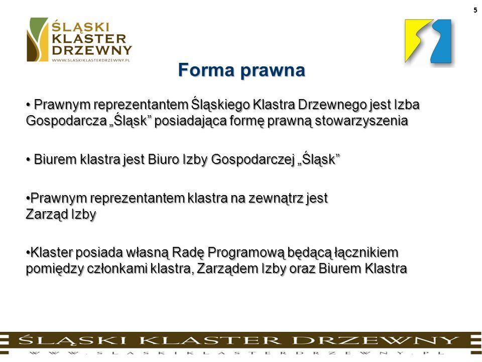 """Forma prawna Prawnym reprezentantem Śląskiego Klastra Drzewnego jest Izba Gospodarcza """"Śląsk posiadająca formę prawną stowarzyszenia."""