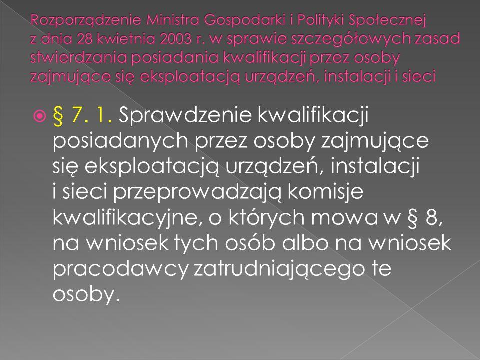 Rozporządzenie Ministra Gospodarki i Polityki Społecznej z dnia 28 kwietnia 2003 r. w sprawie szczegółowych zasad stwierdzania posiadania kwalifikacji przez osoby zajmujące się eksploatacją urządzeń, instalacji i sieci